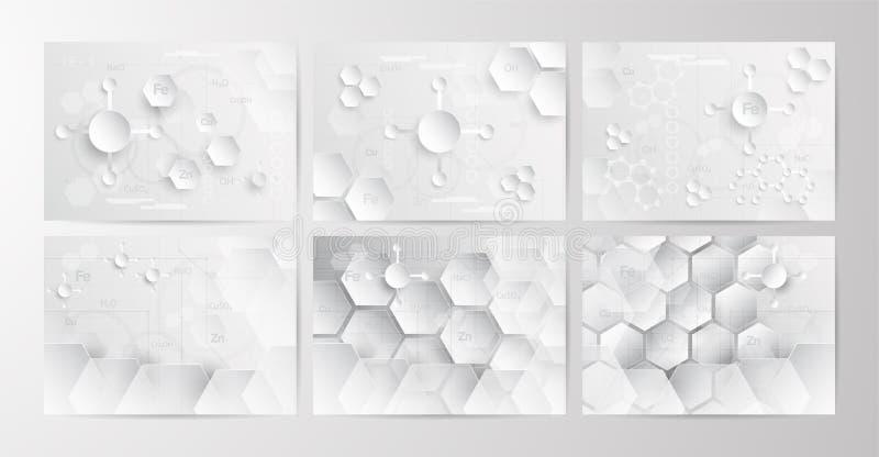 Комплект абстрактной химической предпосылки в сером и белом тоне в co иллюстрация штока