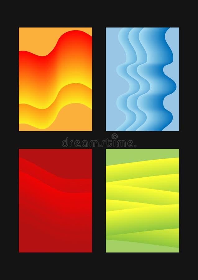 Комплект абстрактных вертикальных шаблонов для дизайна Красочные прямоугольные предпосылки бесплатная иллюстрация
