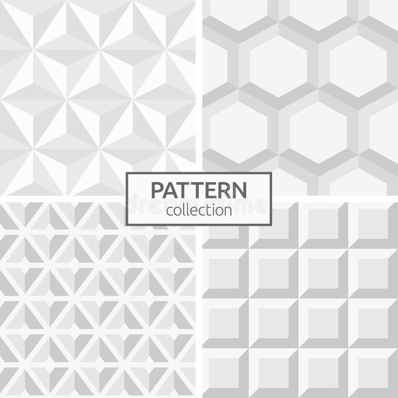 Комплект 4 абстрактных геометрических безшовных картин иллюстрация вектора