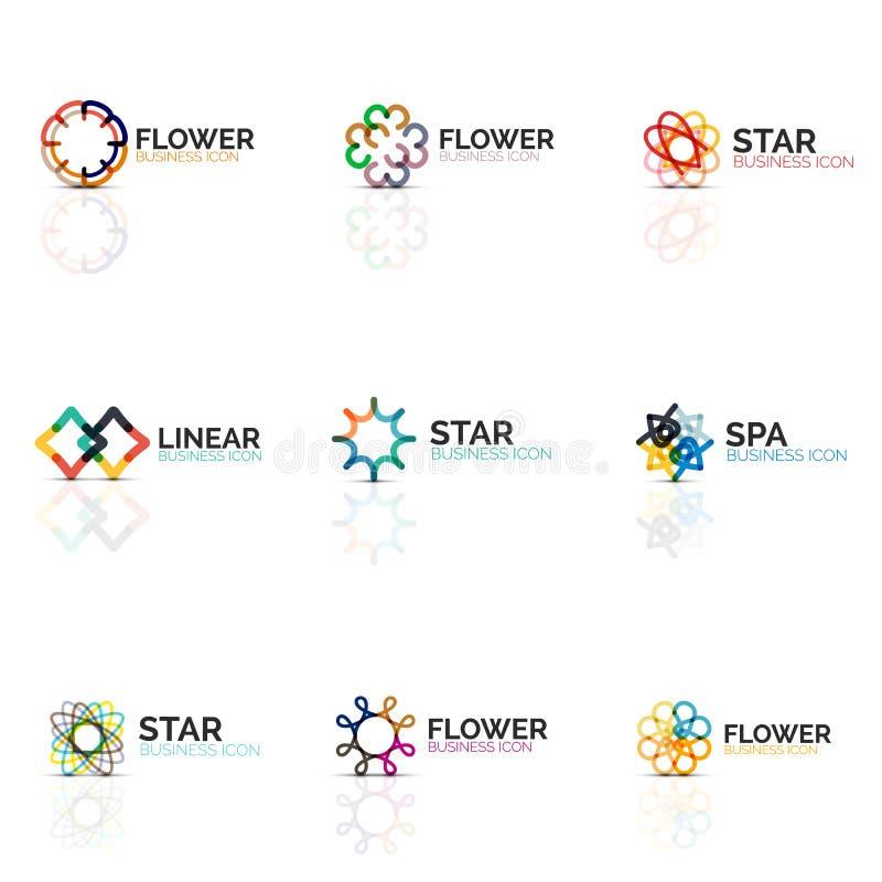 Комплект абстрактных значков цветка или звезды minimalistic линейных, тонкая линия геометрические плоские символы для значка дела иллюстрация вектора