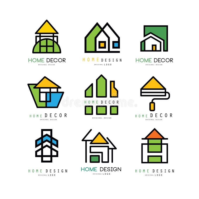 Комплект абстрактных линейных логотипов для компании конструкции или архитектуры Домашнее оформление и ремонт эмблемы вектора для бесплатная иллюстрация