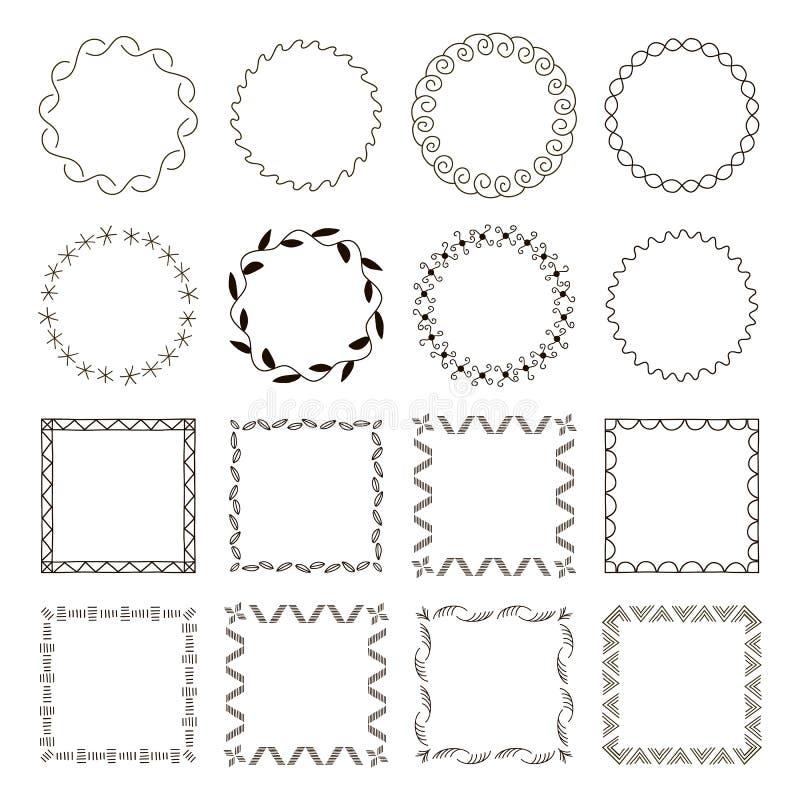 Комплект 16 абстрактных простых геометрических рамок Вокруг и квадратные формы иллюстрация штока
