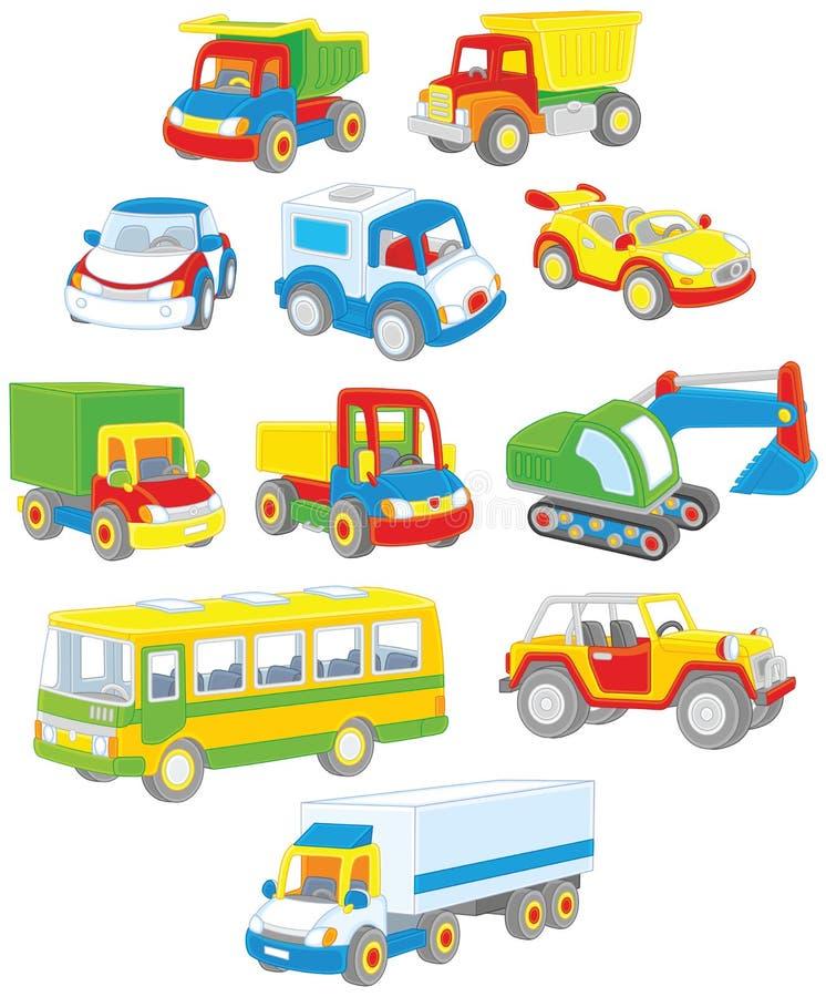 Комплект автомобилей, тележек и шин игрушки бесплатная иллюстрация