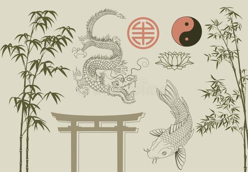 комплект азиата бесплатная иллюстрация