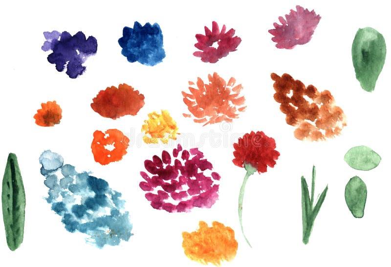 Комплект акварели нарисованной рукой абстрактной цветет формы иллюстрация вектора