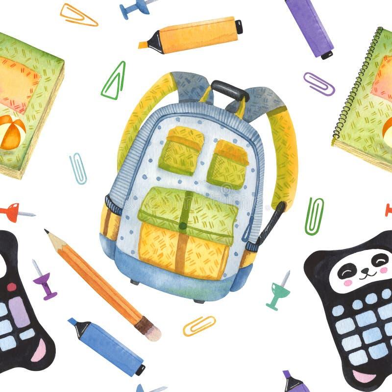 Комплект акварели нарисованный рукой деталей школы задняя школа, котор нужно приветствовать Клей, отметка, примечания, карандаш,  бесплатная иллюстрация