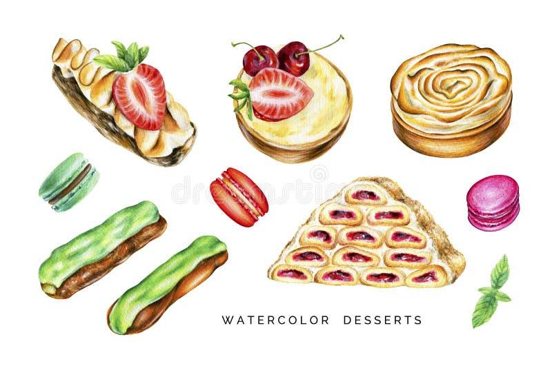 Комплект акварели очень вкусных десертов иллюстрация вектора