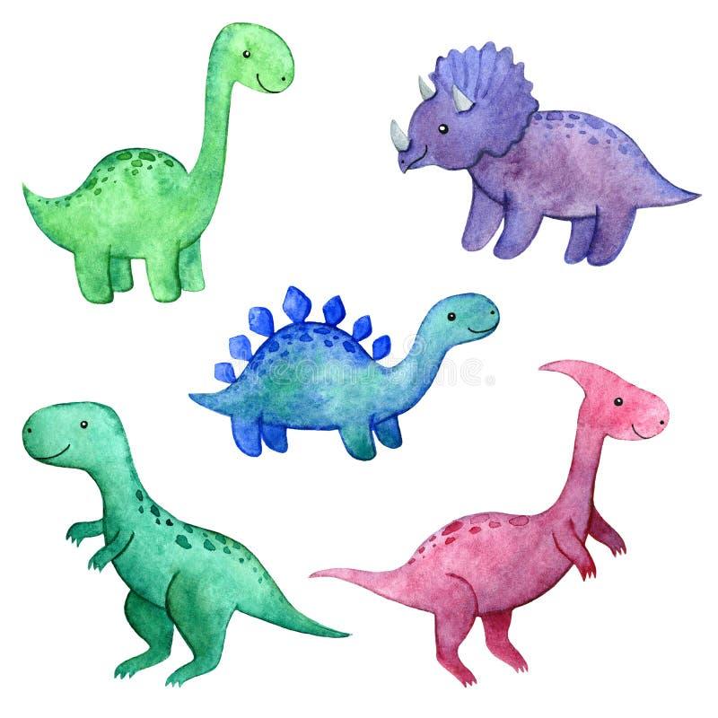 Комплект акварели ребяческий с динозаврами стоковое фото rf