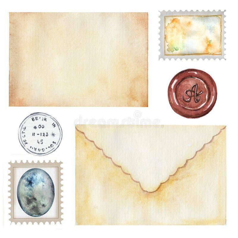 Комплект акварели с винтажными письмами и штемпелями иллюстрация штока