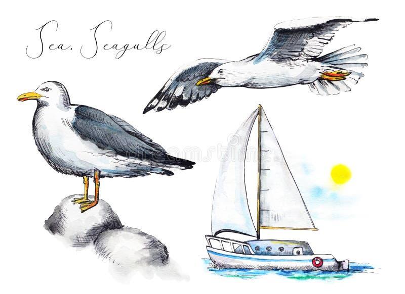 Комплект акварели с 2 чайками и яхтой в море иллюстрация штока