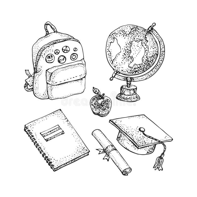 Комплект аксессуаров и поставек школы изолированных на белизне Сумка школы, глобус, постдипломная крышка, диплом, тетрадь doodle  бесплатная иллюстрация
