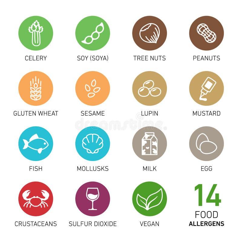 Комплект аллергенов еды иллюстрация штока