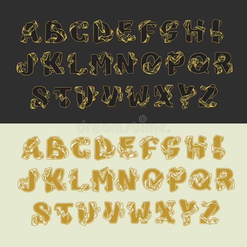 Комплект алфавита вектора золота uppercase писем ABC письма декоративного винтажного эскиза элегантный Шрифт блокировать иллюстрация штока