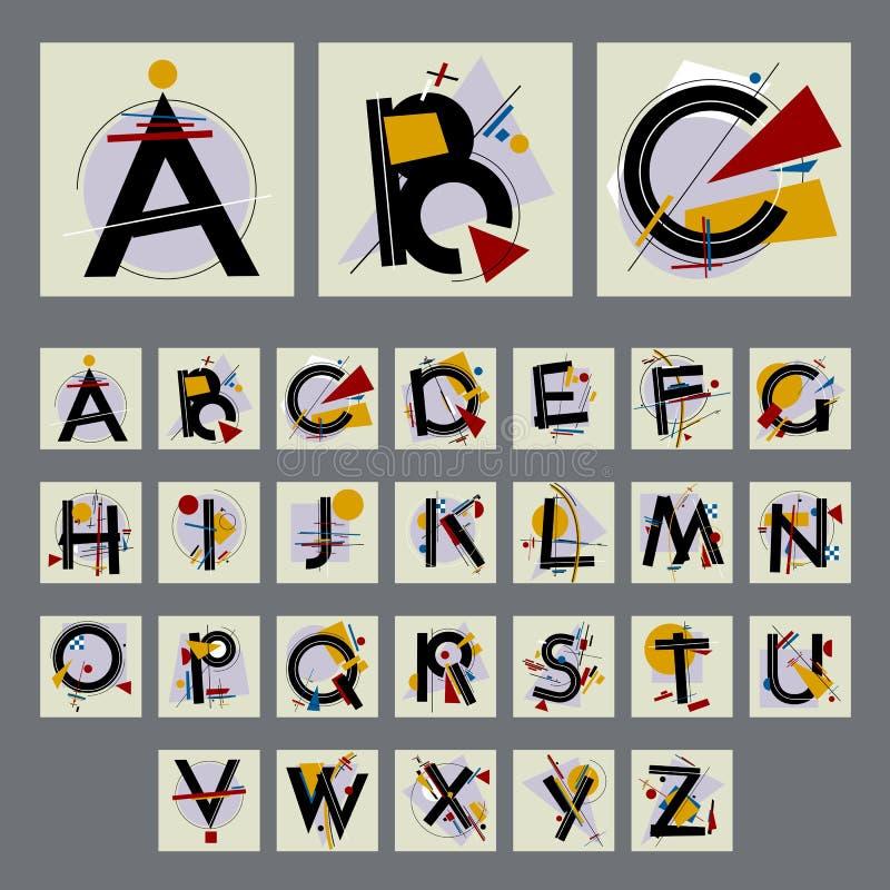 Комплект алфавита с прописными буквами, составленный простых геометрических форм стоковое изображение rf