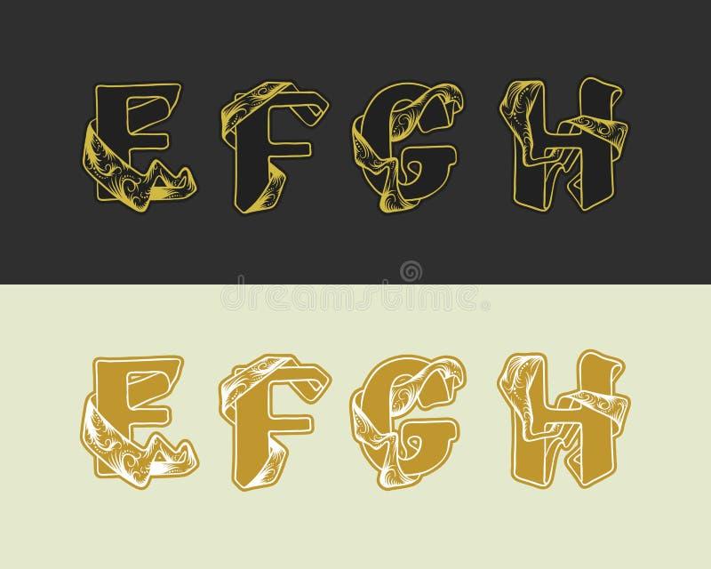 Комплект алфавита эскиза вектора декоративный uppercase писем Письмо e золота элегантное, f, g, h Шрифт блокируя лент иллюстрация штока