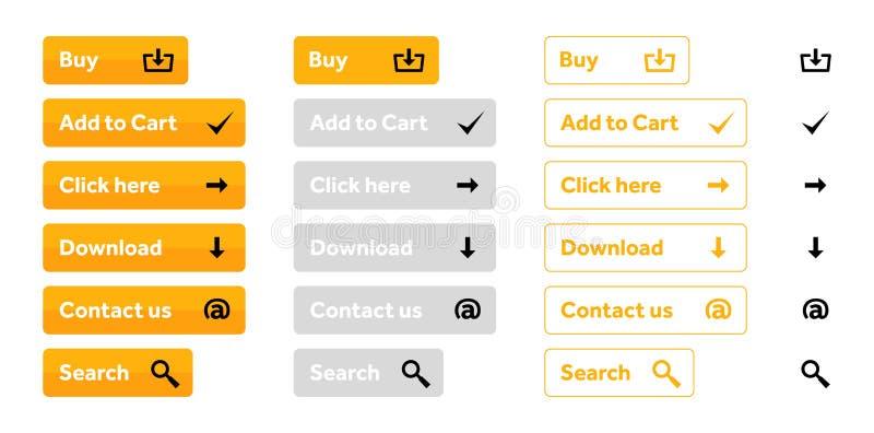 Комплект апельсина кнопок сети с значками иллюстрация штока