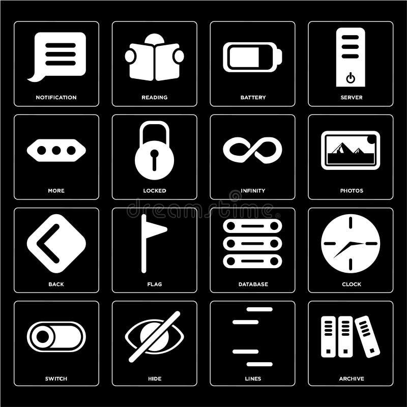 Комплект архива, линий, переключателя, базы данных, задней части, безграничности, больше, b иллюстрация штока