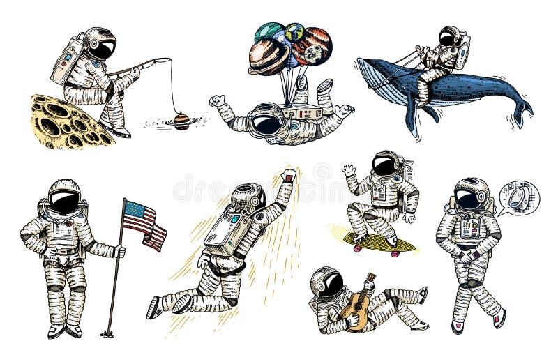 Комплект астронавтов в космосе Космонавт собрания парящий с флагом, китом и воздушными шарами скейтбордист музыканта танцора иллюстрация штока