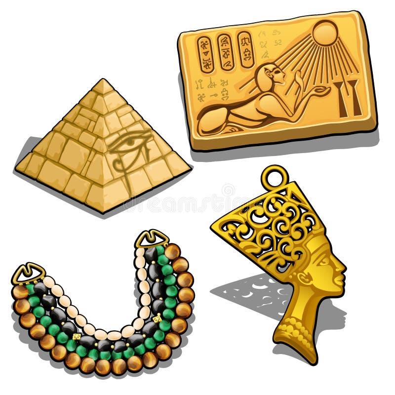 Комплект атрибутов и ювелирных изделий на теме древнего египета изолированной на белой предпосылке Золотой шкентель в форме бесплатная иллюстрация