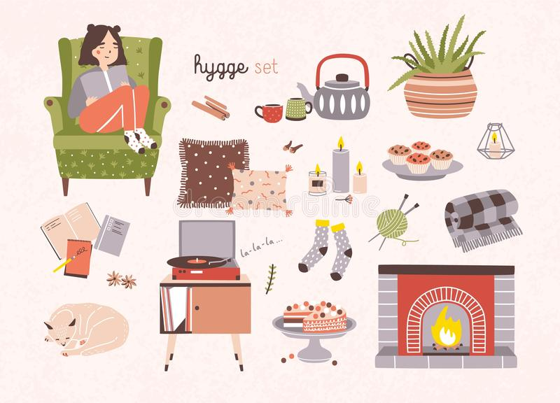 Комплект атрибутов hygge, мебели и домашних украшений изолированных на светлой предпосылке - камине, подушках, turntable бесплатная иллюстрация