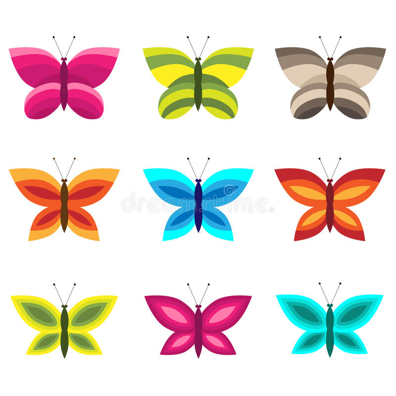 комплект бабочек цветастый иллюстрация вектора