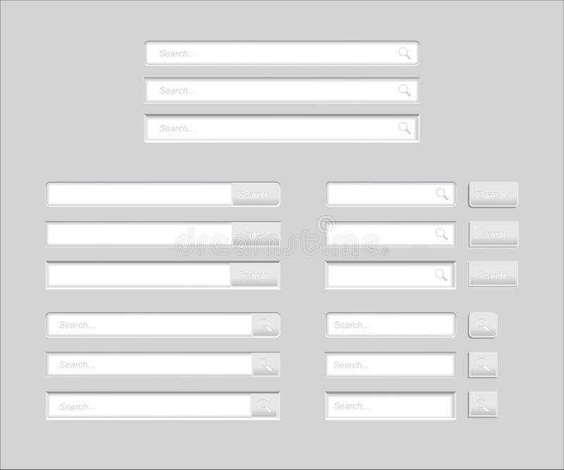 Комплект баров поиска изолированных на серой предпосылке Шаблон вектора для искать интернета Сет-занимаясь серфингом интерфейс с  иллюстрация штока