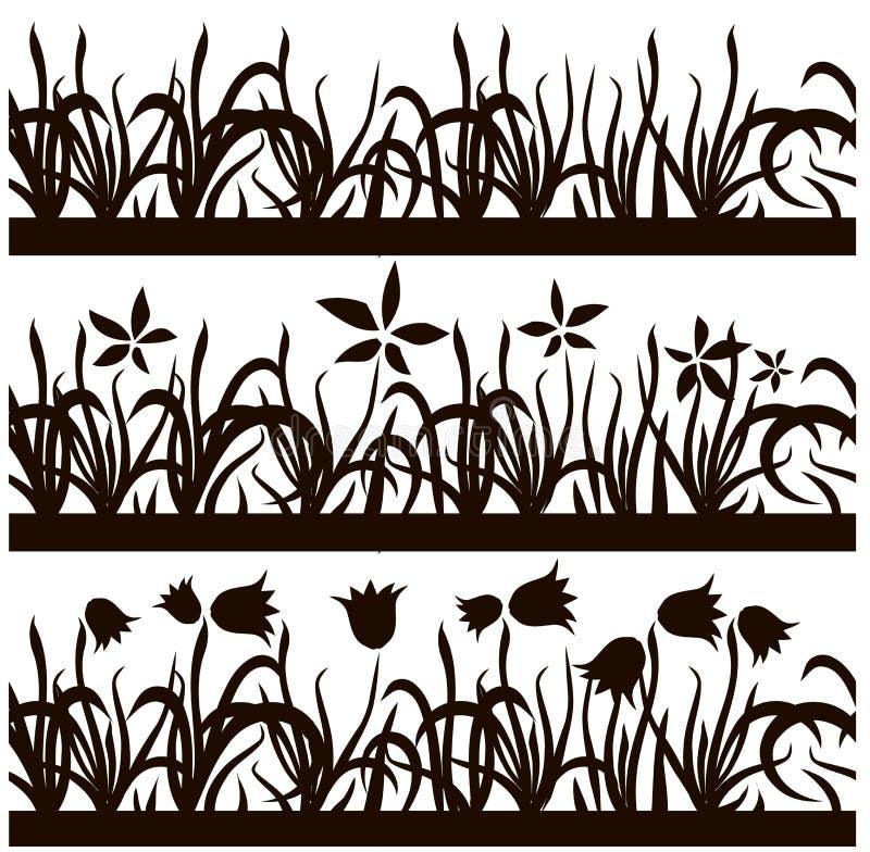 Комплект безшовной черной травы силуэта, картины цветков на белой предпосылке, запасе элемента дизайна бесплатная иллюстрация
