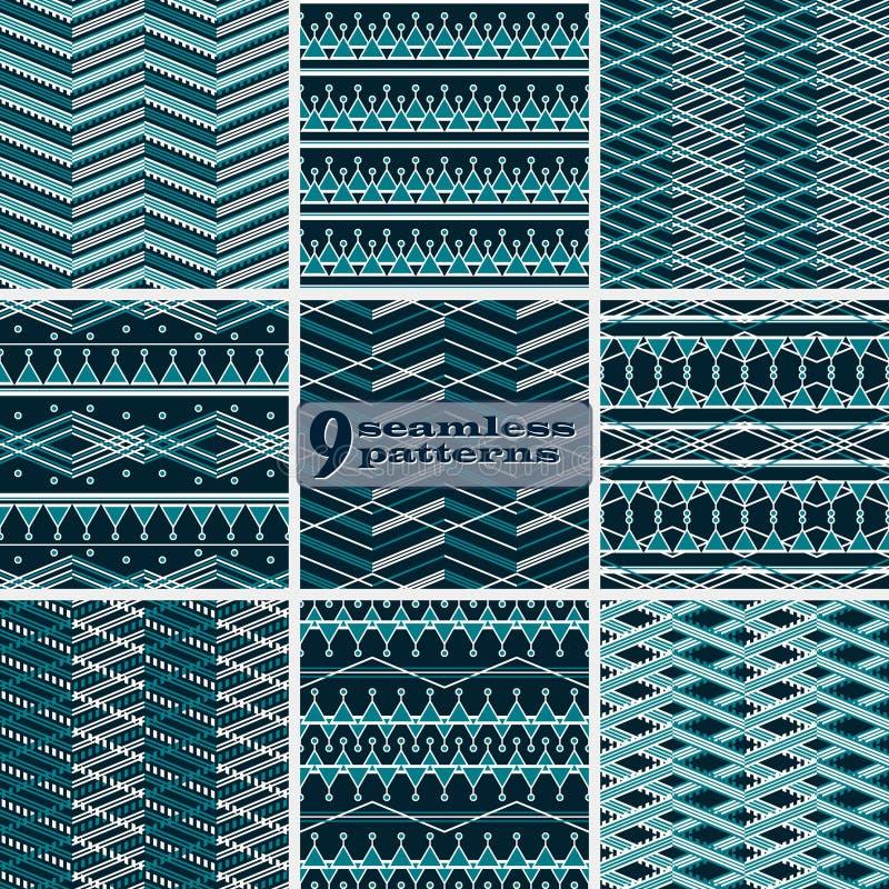 Комплект безшовных абстрактных геометрических картин в голубом и белом co бесплатная иллюстрация