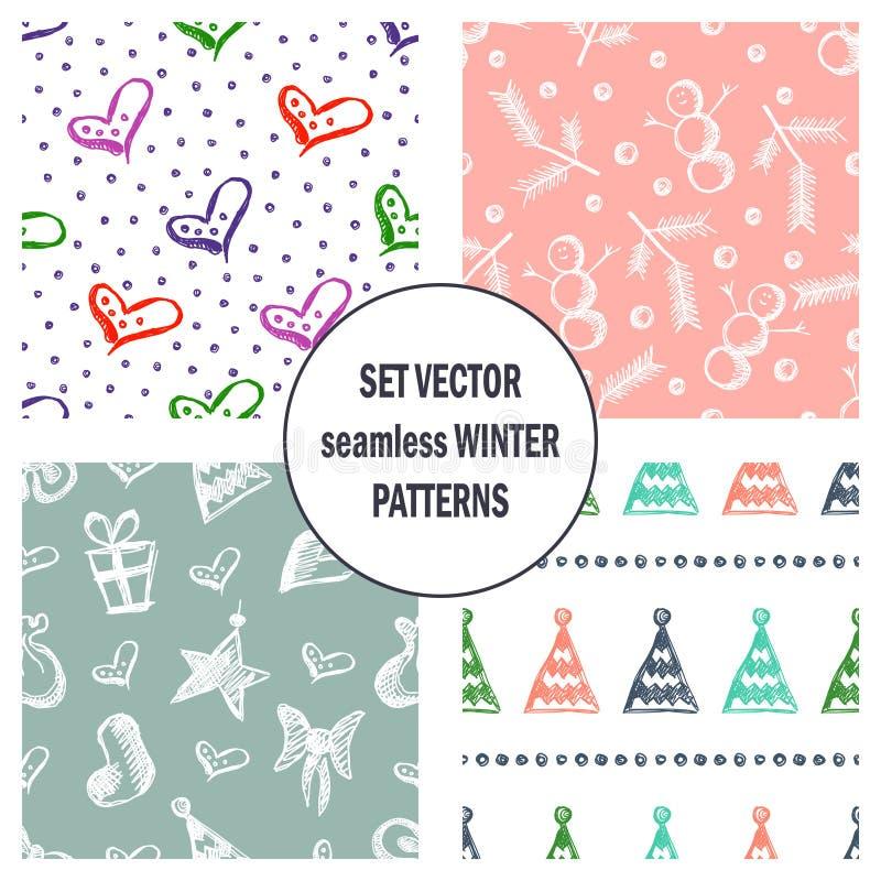 Комплект безшовных картин вектора с милой елями нарисованными рукой, подарками, сердцами, смычками, рождеством забавляется Сезонн иллюстрация штока