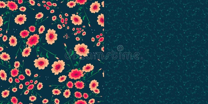 Комплект 2 безшовных картин в голубом цвете иллюстрация штока