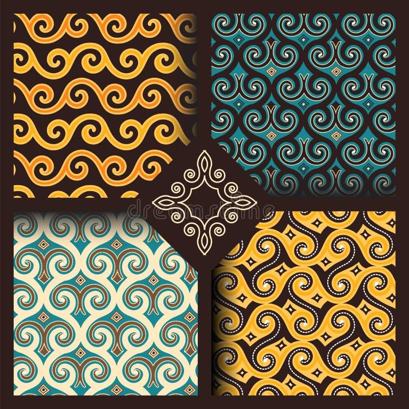 Комплект 4 безшовных картин в индонезийском или арабском стиле иллюстрация вектора