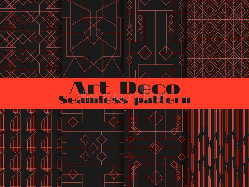 Комплект безшовных картин стиля Арт Деко Линии и геометрические диаграммы на предпосылке Введите ` в моду 1920 s, ` 1930 s вектор бесплатная иллюстрация