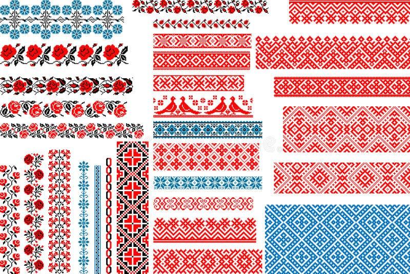 Комплект 30 безшовных этнических картин для стежка вышивки стоковое изображение rf
