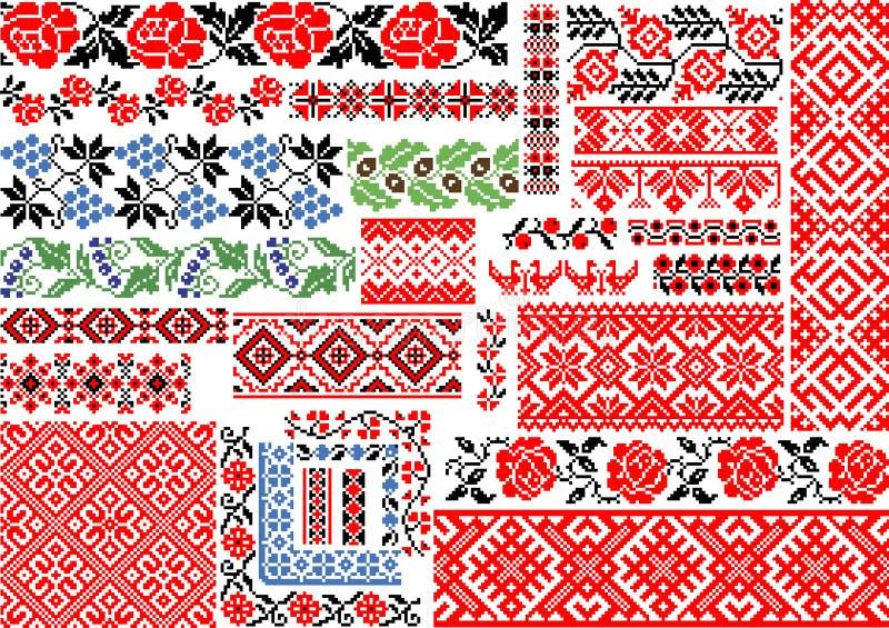 Комплект 30 безшовных этнических картин для стежка вышивки стоковая фотография