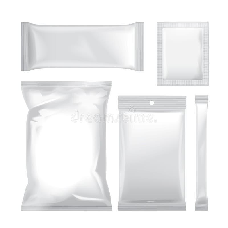 Комплект белой пустой сумки фольги упаковывая для еды, закуски, кофе, какао, помадок, шутих, обломоков, гаек, сахара вектор иллюстрация вектора