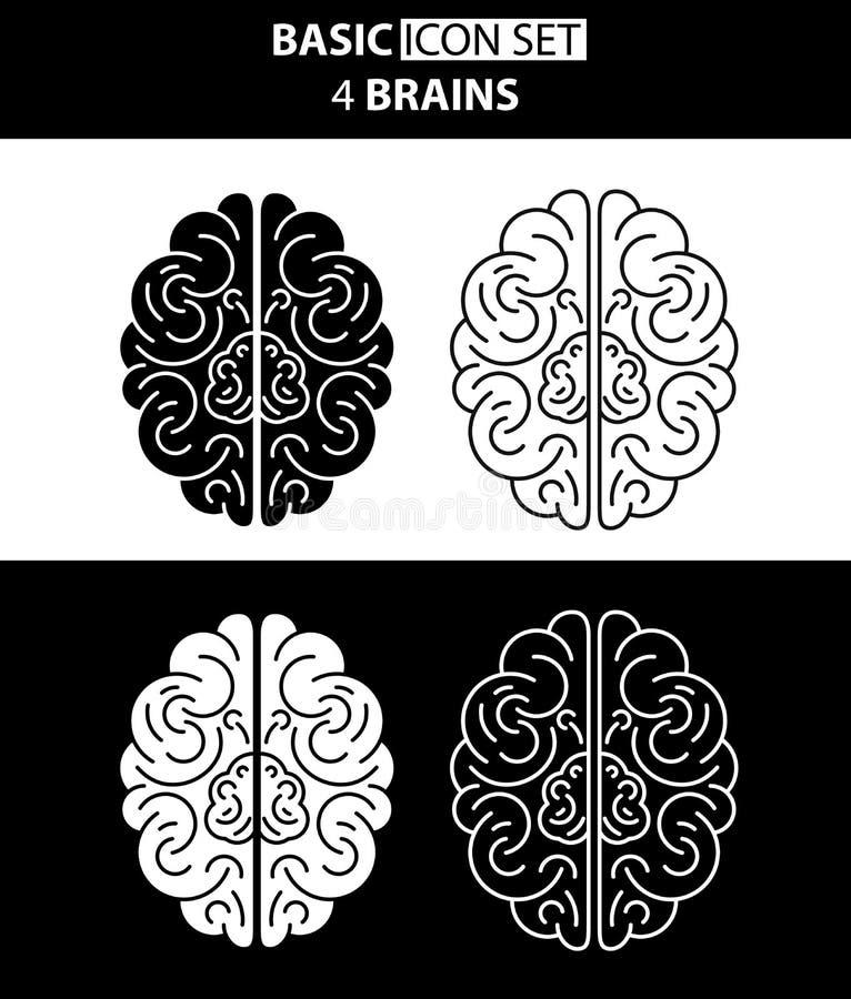 Комплект белых и черных человеческих мозгов значка также вектор иллюстрации притяжки corel стоковые изображения rf