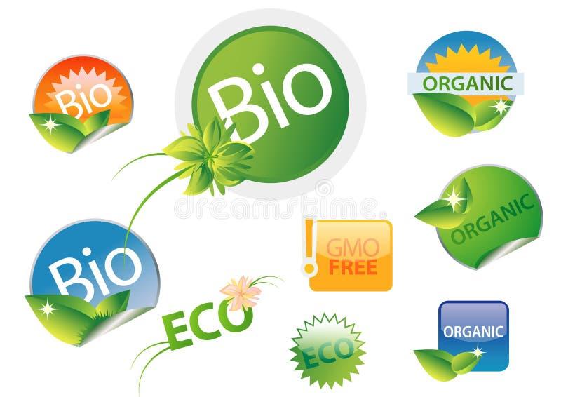 комплект био свободного ярлыка gmo органический иллюстрация штока
