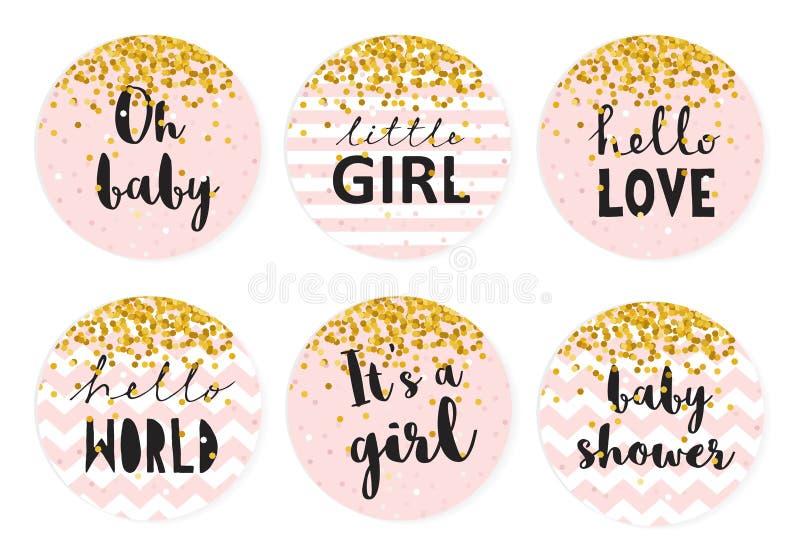 Комплект бирки вектора шоколадного батончика детского душа 6 милых розовых бирок формы круга с золотым крошечным Confetti иллюстрация вектора
