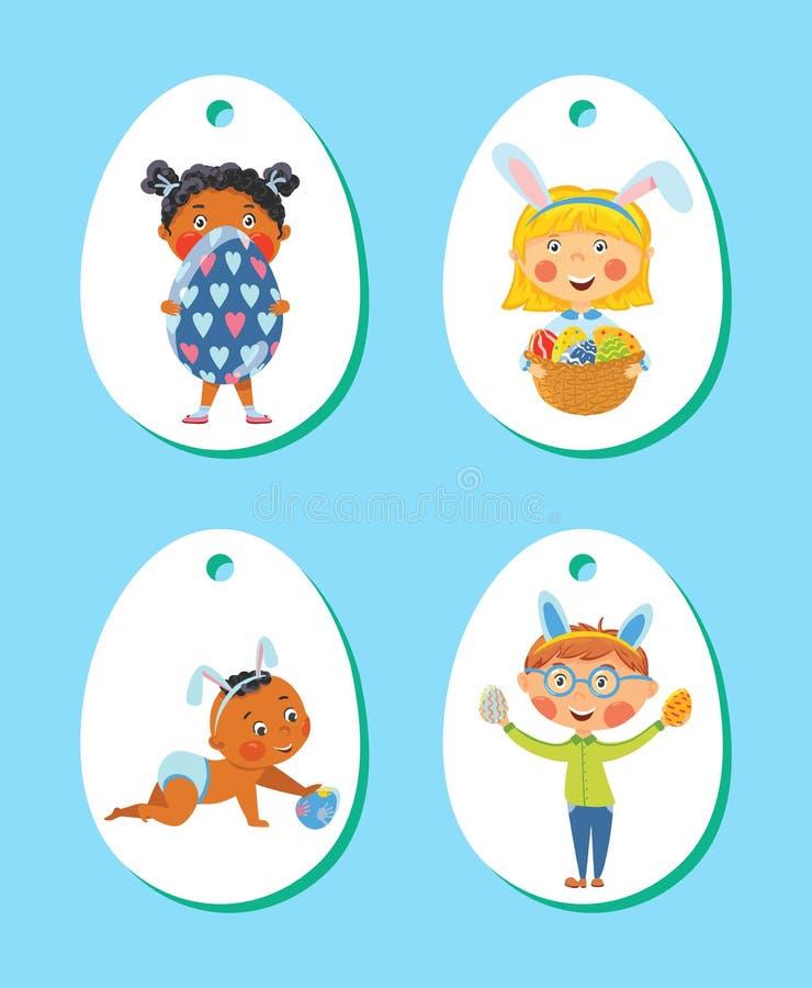 Комплект бирок пасхи, ярлыков с детьми с яичками иллюстрация вектора
