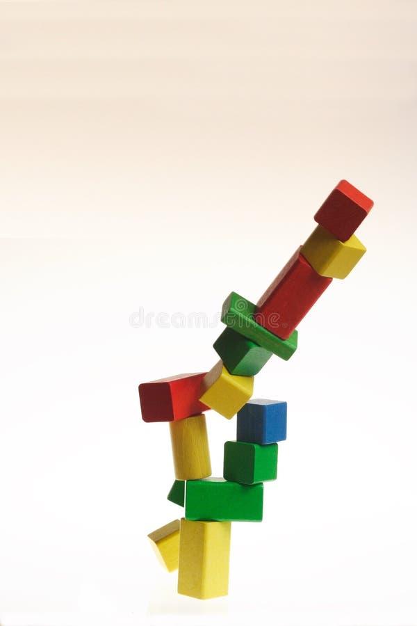 комплект блоков рушясь цветастый деревянный стоковая фотография rf