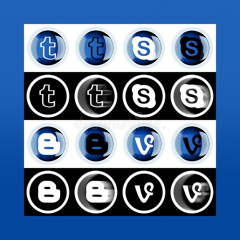 Комплект большинств популярных социальных значков средств массовой информации: Блоггер, Skype, лоза, Tu иллюстрация вектора