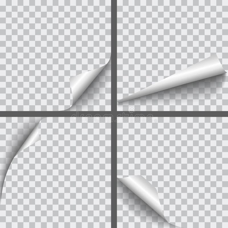 Комплект бумаги вектора реалистической завил углы с isolat теней иллюстрация штока