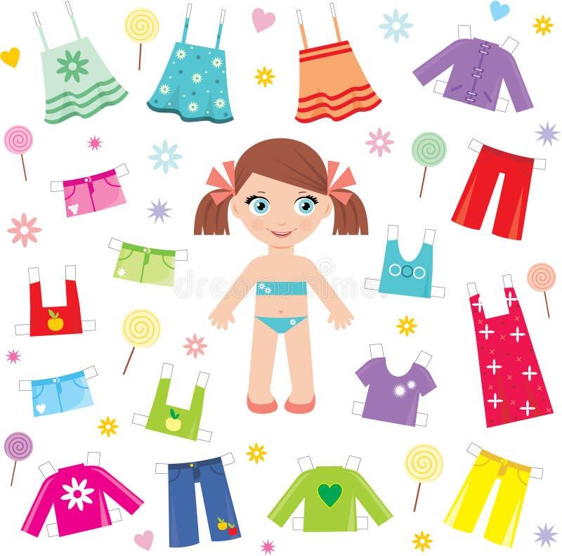 комплект бумаги куклы одежд иллюстрация штока