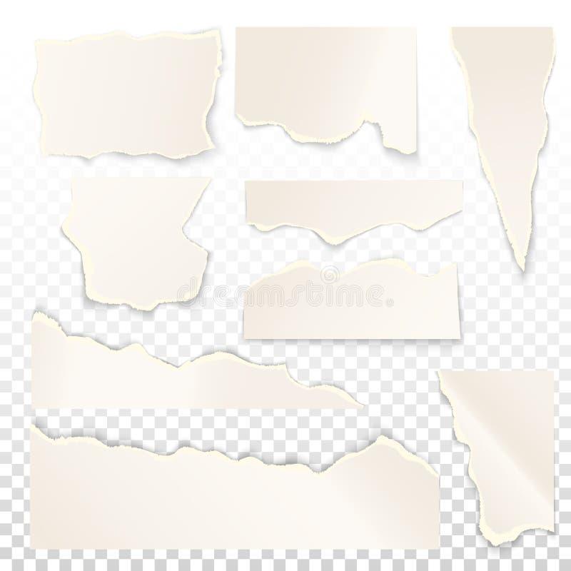 Комплект бумаги сорванной белизной иллюстрация вектора