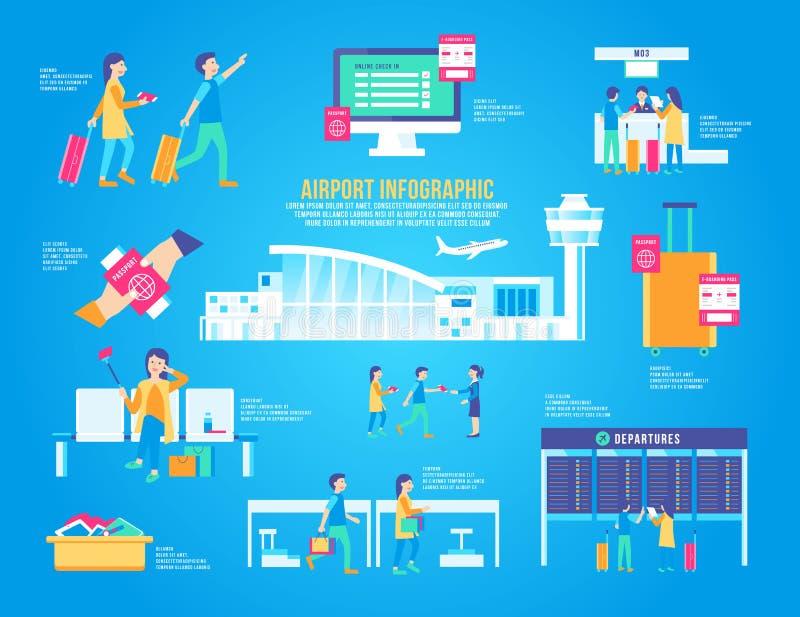 Комплект вектора авиапорта плоский infographic, стержень дизайна, график значка, переход, предпосылка современная, ландшафт перем иллюстрация штока
