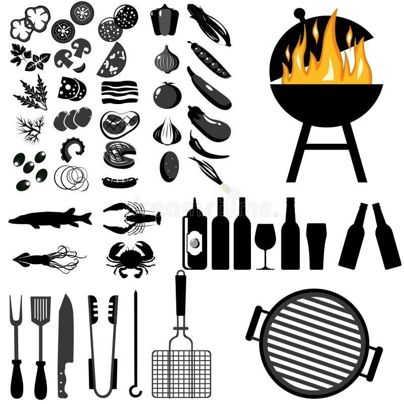 Комплект вектора барбекю и зажаренной еды иллюстрация вектора