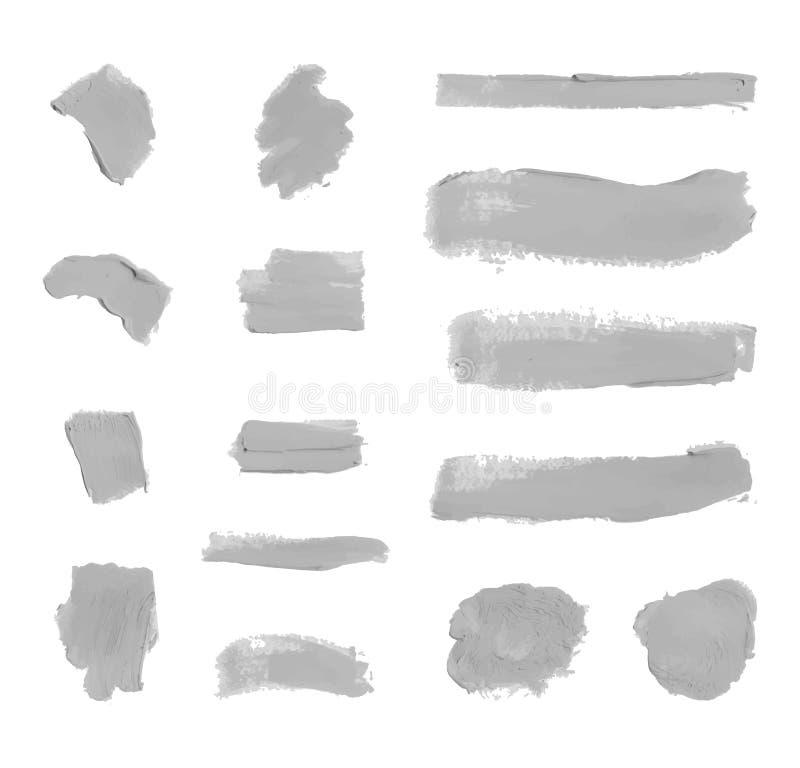 Комплект вектора бесцветных серых Smudges краски, косметик текстуры, изолированного элемента дизайна иллюстрация штока