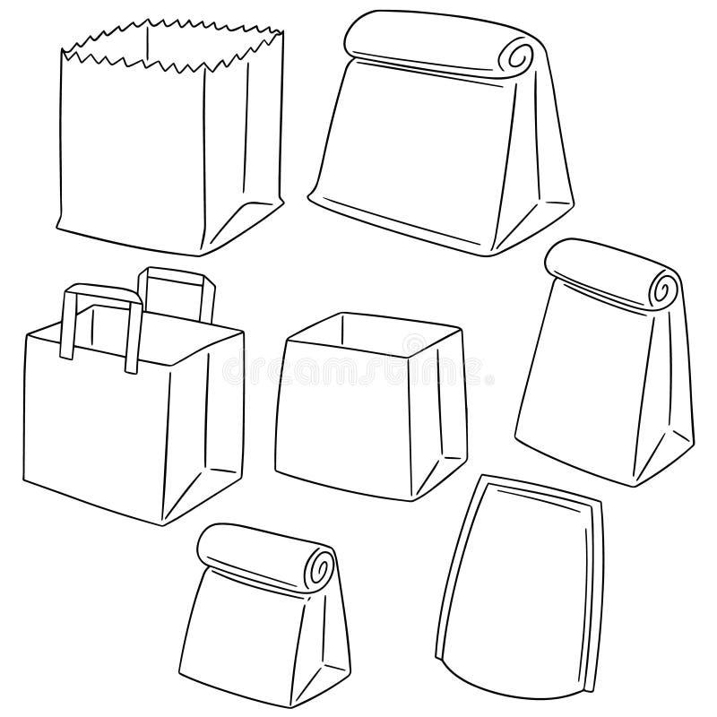 Комплект вектора бумажной сумки иллюстрация вектора