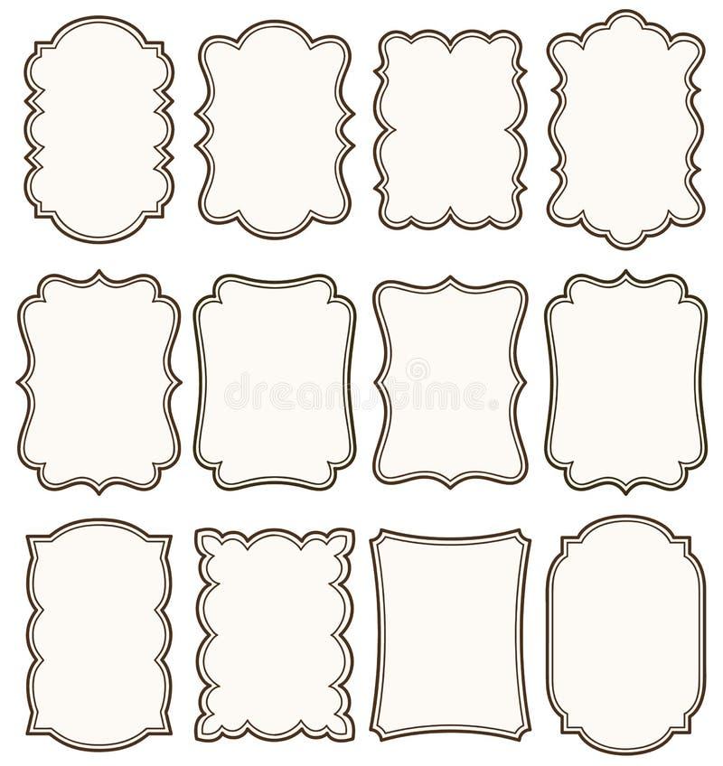 Комплект вектора декоративных винтажных бирок, рамки для scrapbook и приглашение свадьбы конструируют бесплатная иллюстрация