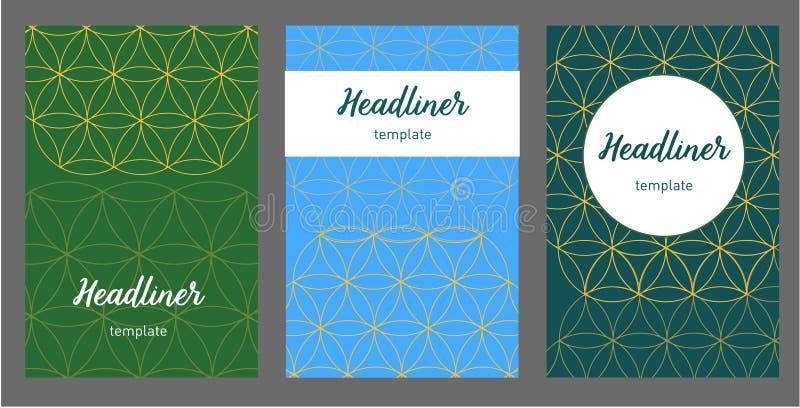 Комплект вектора дела План шаблона брошюры, годовой отчет дизайна крышки, кассета, рогулька в A4 с абстрактной геометрией иллюстрация штока